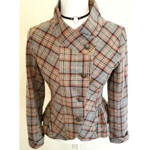 Anthro Nick & Mo Plaid Peplum Blazer Jacket Small
